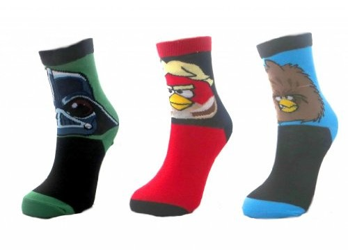 12 paires chaussettes (taille 37-40) – enfant- Angry Birds Star Wars