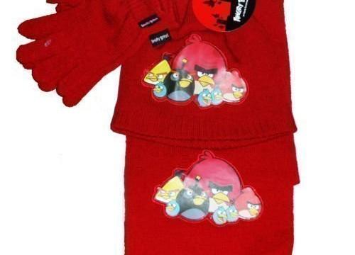 Bonnet+écharpe+gants 4-8 ans Angry Birds