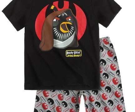 Pyjama (6 à 12 ans)  -Obi Wan Kenobi -Angry Birds -Star Wars pantalon et t-shirt court noir