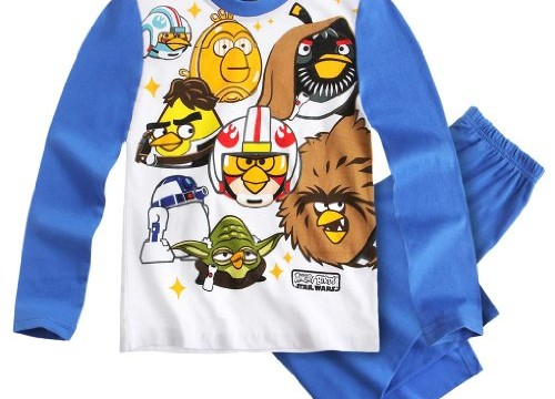 Pyjama long (6 ans) garçon Angry birds -Star Wars -Blanc/bleu