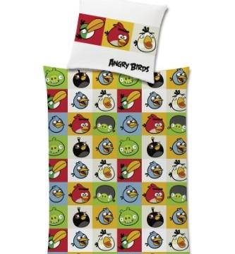 Parure de lit en coton renforcé avec housse de couette 135 x 200 cm et taie d'oreiller -Angry Birds