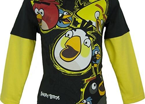 T-shirt (4,6,8,10 ans) pour fille – manches longues – noir et jaune –Angry Birds