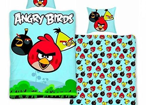 Housse de Couette + Taie d'oreiller – Angry Birds – Rouge/Jaune/Noir – 100% Coton – 140×200 cm