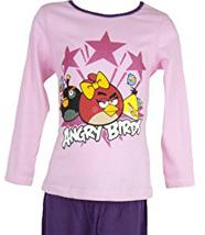 Pyjama (4 à 10 ans)  manches longues Angry Birds fille -violet et rose