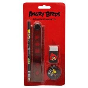 Lot papèterie :crayon, gomme, règle,taille crayon + grande gomme Angry Birds