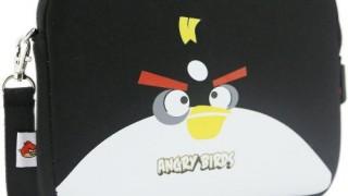 Sacoche noire pour tablette (iPad ou Android) Angry Birds (néoprène, imperméable, double fermeture éclair YKK, poche extérieure, doublure intérieure peluche douce)