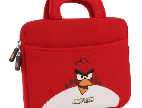 Sacoche rouge pour tablette (iPad ou Android) couleur, bleu, noir,  vert – Angry Birds, (néoprène, imperméable, double fermeture éclair YKK, poche extérieure, doublure intérieure peluche douce)