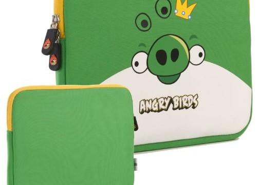 Sacoche pour tablette (iPad ou Android) -roi des cochons-Angry Birds (néoprène, imperméable, double fermeture éclair YKK, doublure intérieure peluche douce)