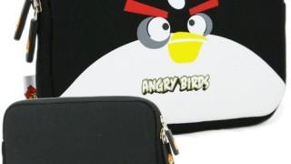 Sacoche noire pour tablette (iPad ou Android) Angry Birds (néoprène, imperméable, double fermeture éclair YKK, doublure intérieure peluche douce)