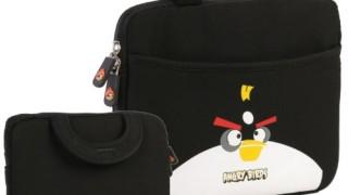 Sacoche noire  pour tablette (iPad ou Android) avec poignées- noir, bleu,  rouge,vert -25 cm- Angry Birds, (néoprène, imperméable, double fermeture éclair YKK, poche extérieure, doublure intérieure peluche douce)
