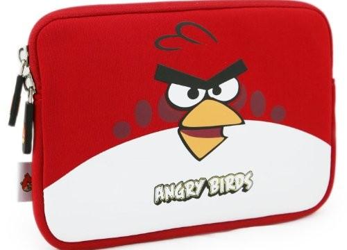 Sacoche pour tablette (iPad ou Android) Angry Birds -noir, rouge, vert -25 cm- (néoprène, imperméable, double fermeture éclair YKK, doublure intérieure peluche douce)